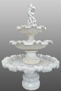 Casa Padrino Barock Gartenbrunnen Junge mit Fisch Weiß Ø 130 x H. 186 cm - 3 Stufiger Springbrunnen - Gartenbrunnen