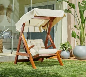 Casa Padrino Luxus Hollywood Schaukel Cremefarben / Braun - Moderne Wetterfeste Garten Schaukel mit Sonnendach - Terrassen Möbel - Garten Möbel - Luxus Kollektion - Vorschau 2