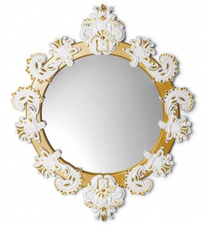 Casa Padrino Designer Wandspiegel Gold / Weiß 72 x H. 90 cm - Luxus Spiegel mit handgefertigter Porzellan Deko aus feinstem Spanischen Porzellan