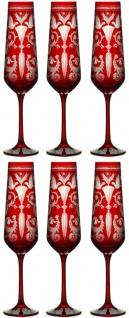 Casa Padrino Luxus Champagnerglas 6er Set Rot / Silber Ø 6, 5 x H. 26, 5 cm - Handgefertigte und handgravierte Champagnergläser - Hotel & Restaurant Accessoires - Luxus Qualität