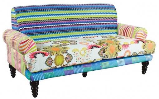 Casa Padrino Designer Wohnzimmer Sofa Mehrfarbig / Schwarz 185 x 87 x H. 90 cm - Luxus Möbel