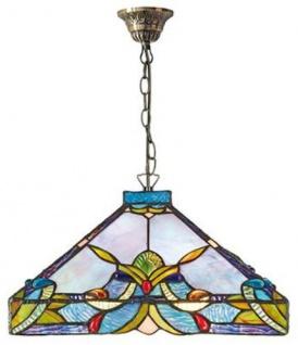 Casa Padrino Tiffany Hängeleuchte / Pendelleuchte Bunt Ø 36 x H. 92 cm - Handgefertigte Tiffany Lampe