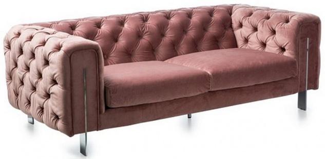Casa Padrino Luxus Chesterfield Samt Sofa Vintage Rosa / Silber 200 x 100 x H. 68 cm - Chesterfield Wohnzimmer Möbel