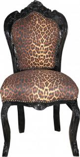 Casa Padrino Barock Esszimmer Stuhl ohne Armlehne Leopard/Schwarz - Antik Stil