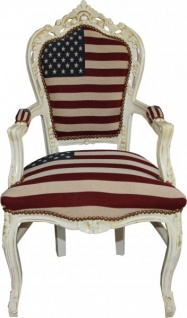 Casa Padrino Barock Esszimmer Stuhl mit Armlehnen USA / Creme Antik Stil