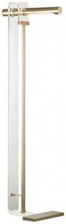 Casa Padrino Designer LED Stehleuchte Antik Messingfarben 37, 5 x 25, 4 x H. 111, 8 cm - Moderne Stehlampe - Wohnzimmer Lampe - Luxus Qualität