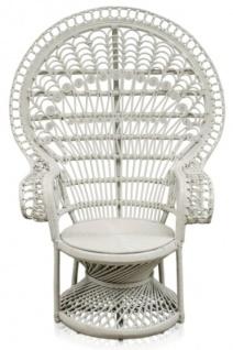 Casa Padrino Luxus Rattan Sessel Weiß 114 x 80 x H. 150 cm - Vintage Möbel