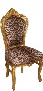 Casa Padrino Barock Esszimmer Stuhl Leopard/Gold Mod2 - Barock Möbel - Vorschau 2