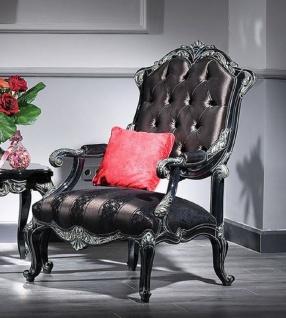 Casa Padrino Luxus Barock Sessel Schwarz / Grün / Gold - Prunkvoller Wohnzimmer Sessel mit elegantem Muster - Barock Wohnzimmer Möbel