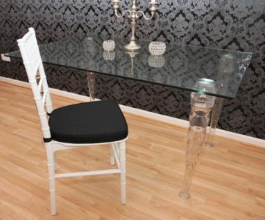 Casa Padrino Designer Acryl Stuhl inkl Sitzkissen Weiß/Schwarz - Ghost Chair white - Polycarbonat Möbel - Polycarbonat Stuhl - Acryl Möbel - Geisterstuhl - Vorschau 3