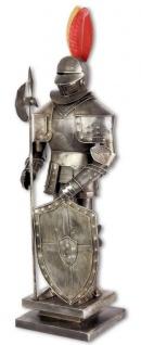 Casa Padrino Mittelalter Deko Ritterrüstung Antik Silber 14, 4 x 11, 9 x H. 52 cm - Kleine Zinnfigur auf Sockel