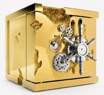 CPBlack Luxus Schmucksafe by Casa Padrino Gold / Silber - Moderner Safe in Würfelform - Moderner Hochwertiger Schmuck Tresor