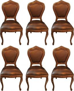 Casa Padrino Luxus Barock Esszimmer Set Braun / Braun 45 x 47 x H. 99 cm - 6 handgefertigte Massivholz Esszimmerstühle mit Echtleder - Barock Esszimmermöbel