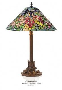Handgefertigte Tiffany Hockerleuchte von Casa Padrino Höhe 61 cm, Durchmesser 41 cm - Leuchte Lampe - wunderschöne Tischleuchte