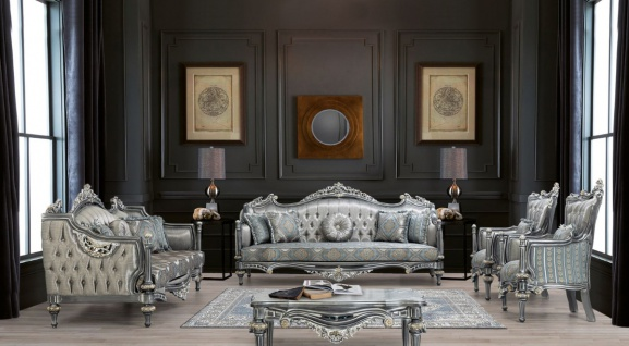 Casa Padrino Luxus Barock Wohnzimmer Set Silber / Türkis / Gold - 2 Sofas & 2 Sessel & 1 Couchtisch - Wohnzimmer Möbel im Barockstil - Edel & Prunkvoll