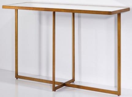 Casa Padrino Luxus Konsole Bronze 120 x 40 x H. 77 cm - Rechteckiger Metall Konsolentisch mit Spiegelglas - Wohnzimmer Möbel