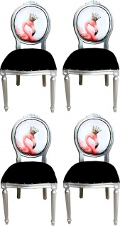 Casa Padrino Luxus Barock Esszimmer Set Flamingo mit Krone Schwarz / Mehrfarbig / Silber 48 x 50 x H. 98 cm - 4 handgefertigte Esszimmerstühle mit Bling Bling Glitzersteinen - Barock Esszimmermöbel