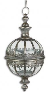 Casa Padrino Jugendstil Hängelaterne Antik Silber Ø 27, 5 x H. 53, 8 cm - Barock & Jugendstil Deko Accessoires