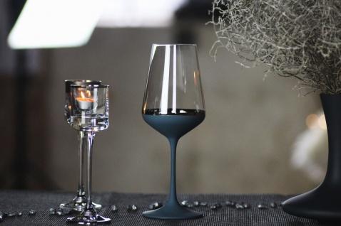 Casa Padrino Luxus Rotweinglas 6er Set Dunkelblau / Silber Ø 8, 5 x H. 24 cm - Handgefertigte und handbemalte Weingläser - Hotel & Restaurant Accessoires - Luxus Qualität