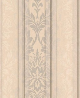 Casa Padrino Barock Textiltapete Creme / Beige / Silber / Grau 10, 05 x 0, 53 m - Wohnzimmer Tapete - Deko Accessoires
