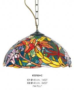 Casa Padrino Tiffany Hängeleuchte 40cm Gelb / Grün / Rot - Glas Mosaik Decken Lampe Leuchte Barock Restaurant Beleuchtung