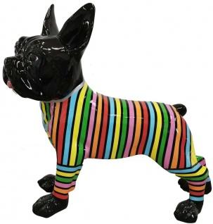 Casa Padrino Designer Deko Hund Bulldogge mit Streifen Schwarz / Mehrfarbig 190 x H. 178 cm - Riesige Dekofigur - Gartendeko Skulptur - Gartenfigur