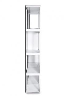 Designer Bücherregal aus lackiertem Holz Weiß/Schwarz Hochglanz Höhe: 207cm, Breite: 120cm, Tiefe: 30 cm, modernes Bücherregal - Vorschau 4