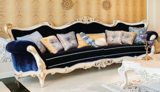 Casa Padrino Luxus Barock Wohnzimmer Sofa Dunkelblau / Weiß / Gold 300 x 98 x H. 120 cm - Prunkvolles Sofa im Barockstil - Edle Barock Wohnzimmer Möbel