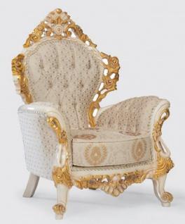 Casa Padrino Luxus Barock Sessel Creme / Weiß / Gold 100 x 80 x H. 125 cm - Handgefertigter Wohnzimmer Sessel mit elegantem Muster - Barock Wohnzimmer Möbel - Edel & Prunkvoll