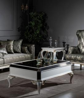 Casa Padrino Luxus Barock Couchtisch Weiß / Gold 122 x 85 x H. 48 cm - Edler Massivholz Wohnzimmertisch mit Glasplatte - Barock Wohnzimmer Möbel