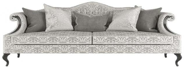 Casa Padrino Luxus Barock Wohnzimmer Sofa mit elegantem Muster Silber / Grau / Schwarz 255 x 100 x H. 97 cm - Wohnzimmer Möbel im Barockstil - Edel & Prunkvoll