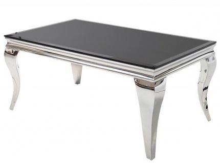 Casa Padrino Luxus Couchtisch 100 cm Schwarz / Silber - Modern Barock