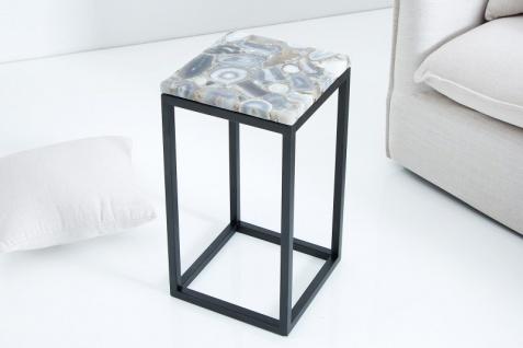 Casa Padrino Designer Beistelltisch mit Onyx 30 x 30 x H.50cm Mehrfarbig - Unikat - Vorschau 3