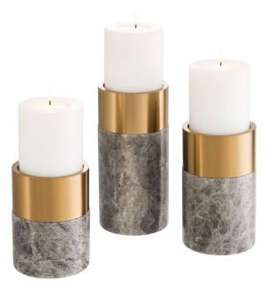 Casa Padrino Luxus Kerzenhalter Set Grau / Messing - 3 runde Marmor Kerzenhalter - Luxus Qualität - Deko Accessoires