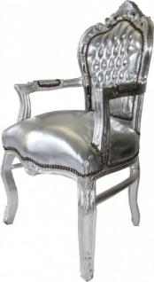 Barock Esszimmerstuhl Silber / Silber mit Armlehne Stuhl Möbel Antik Stil - Vorschau 2