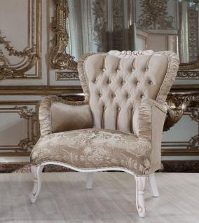 Casa Padrino Barock Sessel Braun / Weiß / Beige 80 x 82 x H. 100 cm - Prunkvoller Wohnzimmer Sessel mit Glitzersteinen - Barockstil Möbel