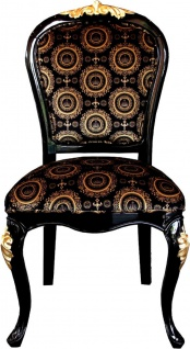 Pompöös by Casa Padrino Luxus Barock Esszimmer Stühle mit Krone Schwarz / Gold & Schwarz / Silber (4 Stühle) Harald Glööckler Möbel - Vorschau 2