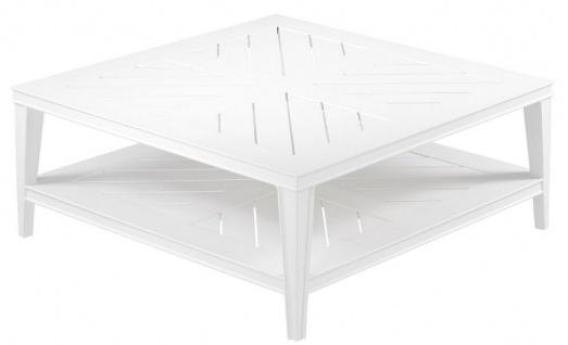 Casa Padrino Luxus Couchtisch Weiß 100 x 100 x H. 42 cm - Quadratischer Wohnzimmertisch aus hochwertigen strapazierbarem Aluminium - Gartentisch