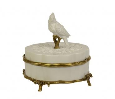Casa Padrino Barock Luxus Porzellan Schmuckschatulle, Box mit Deckel Weiss/Gold - Luxus Dekoration