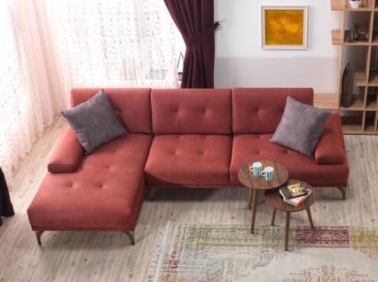 Casa Padrino Designer Wohnzimmer Set - Ecksofa - Ocker-Rot Hotel Möbel
