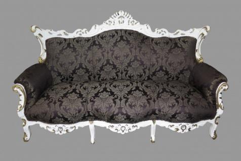Casa Padrino Barock 3er Sofa Master Schwarz Muster/Weiss/Gold - Wohnzimmer Couch Möbel Lounge - Limited Edition - Vorschau 2