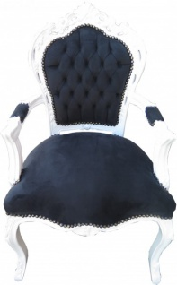 Casa Padrino Barock Esszimmer Stuhl Schwarz / Weiß mit Armlehnen - Möbel Antik Stil