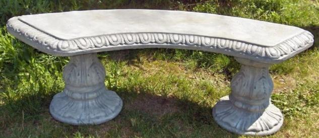 Casa Padrino Jugendstil Gartenbank / Parkbank 138 x 45 x H. 48 cm - Gebogene Sitzbank mit wunderschönen Verzierungen - Gartenmöbel - Special!
