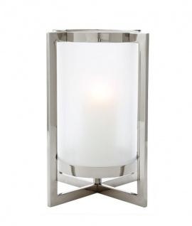 Casa Padrino Luxus Windlicht / Kerzenleuchter Nickel Finish 36 x H. 46 cm - Luxus Accessoires