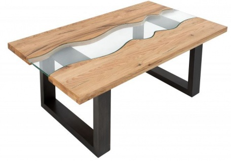 Casa Padrino Designer Massivholz Wildeiche Couchtisch mit Sicherheitsglas Natur 115cm x H. 45cm - Salon Wohnzimmer Tisch