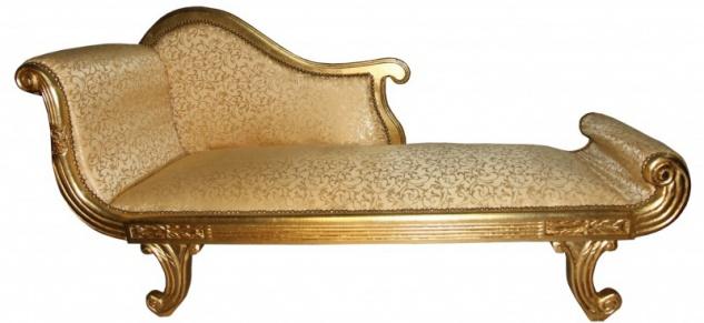 Casa Padrino Barock Chaiselongue Modell XXL Gold Muster / Gold- Antik Stil