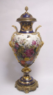 Casa Padrino Luxus Porzellan Vase mit Deckel H. 93 cm - Barock Dekoration - Vorschau