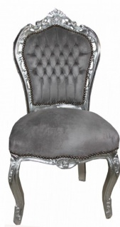 Casa Padrino Barock Esszimmer Stuhl Grau / Silber - Antik Stil - Möbel