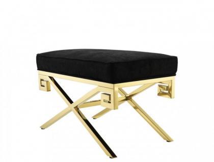 Casa Padrino Luxus Sitz Hocker Gold Finish 73 x 41 x H. 45 cm - Vitage Art Deco Möbel
