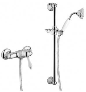 Luxus Badezimmer Duschgarnitur Aufputz-Einhebelbrausebatterie Silber / Weiß - Dusch Brauseset mit Brausestange